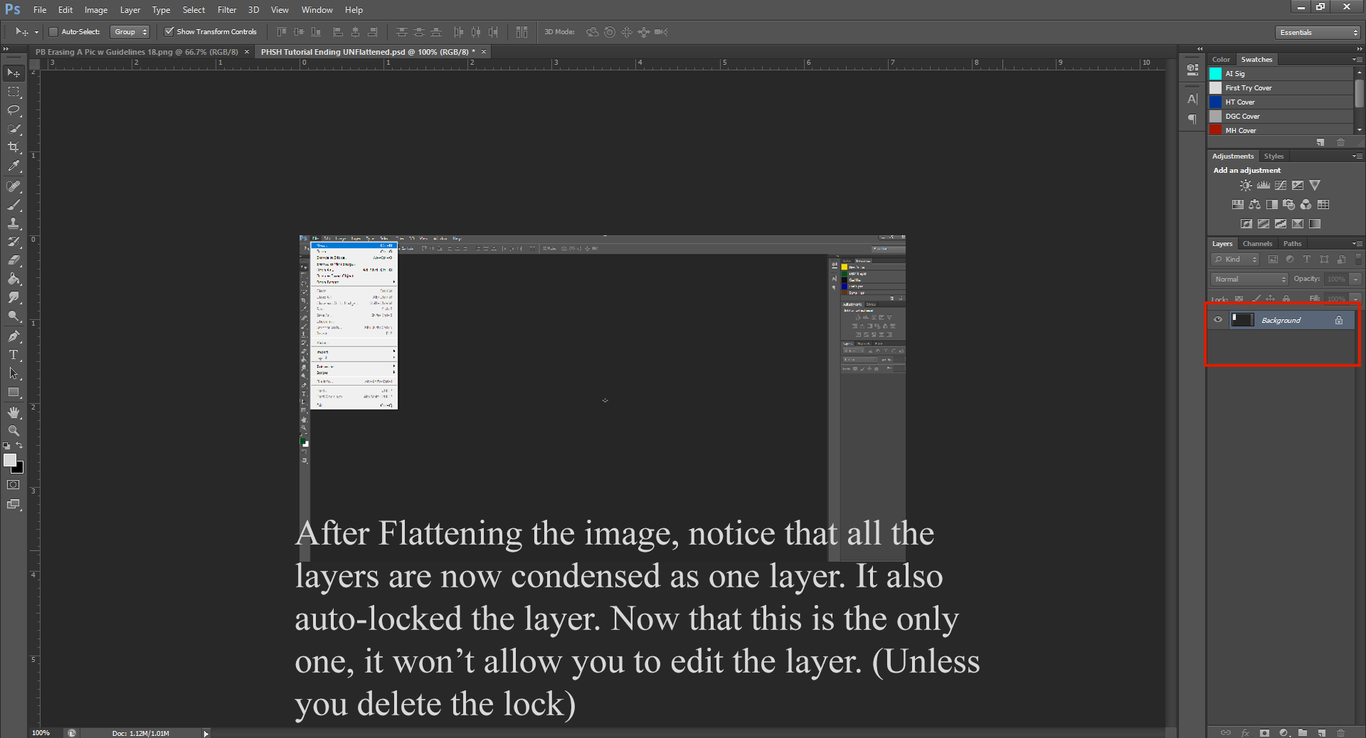 AterImber.com - Writing Tips - PHSH Tutorial Intro - Erasing a Picture with Guidelines 19 - Photoshop