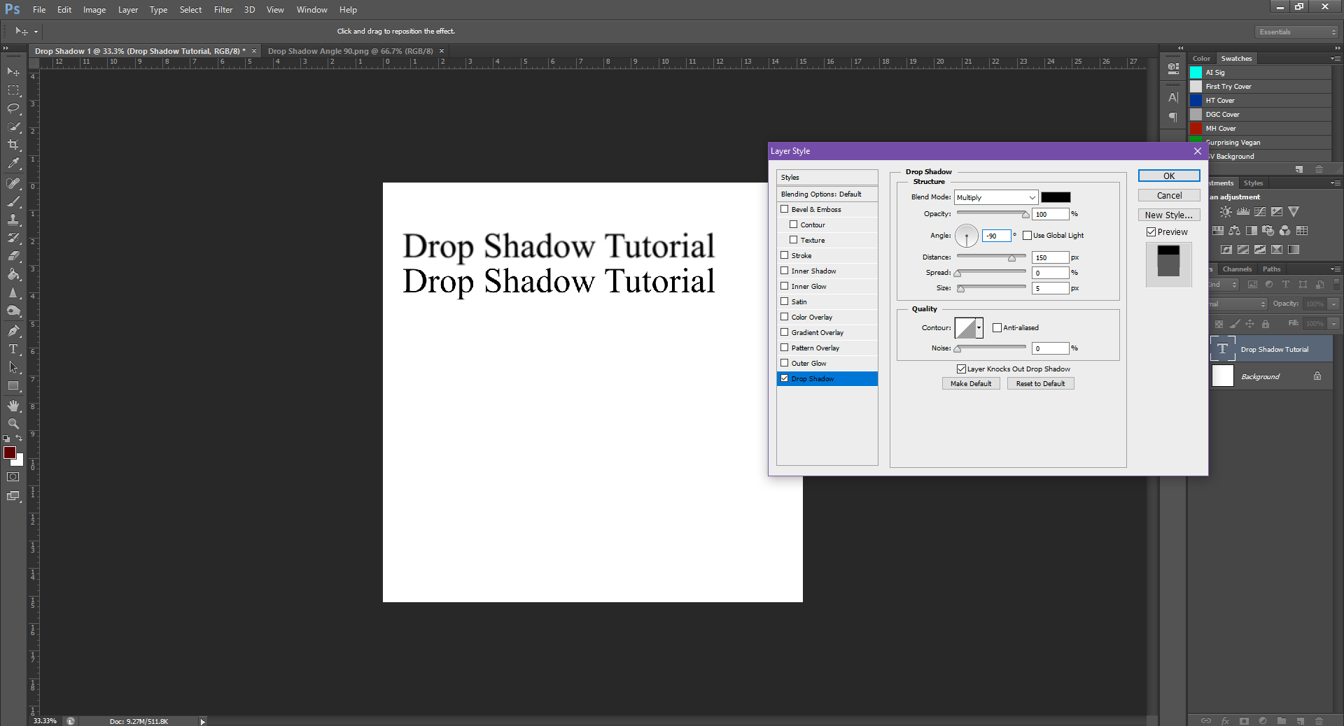 AterImber.com - Writing - Writing Tips - PHSH Tutorial - Drop Shadow - Angle -90