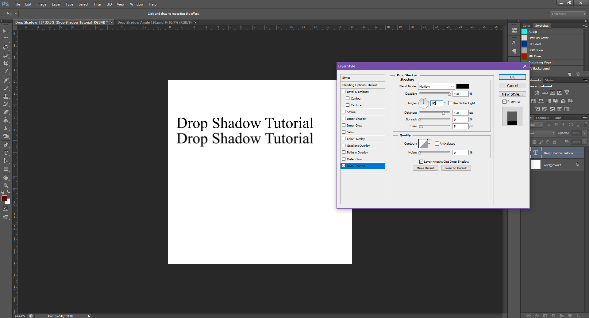 AterImber.com - Writing - Writing Tips - PHSH Tutorial - Drop Shadow - Angle 90
