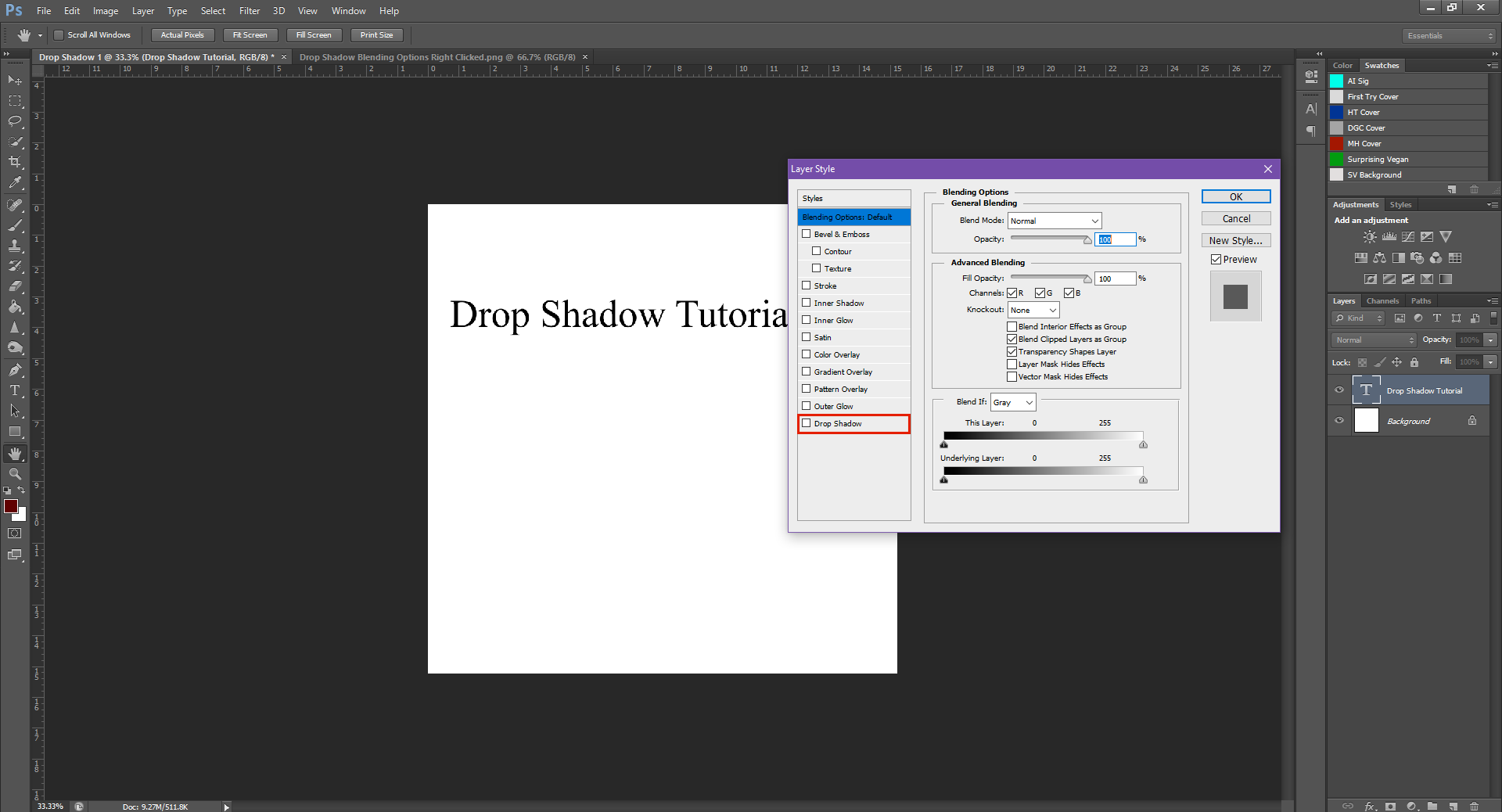AterImber.com - Writing - Writing Tips - PHSH Tutorial - Drop Shadow - Blending Options Dialogue Box