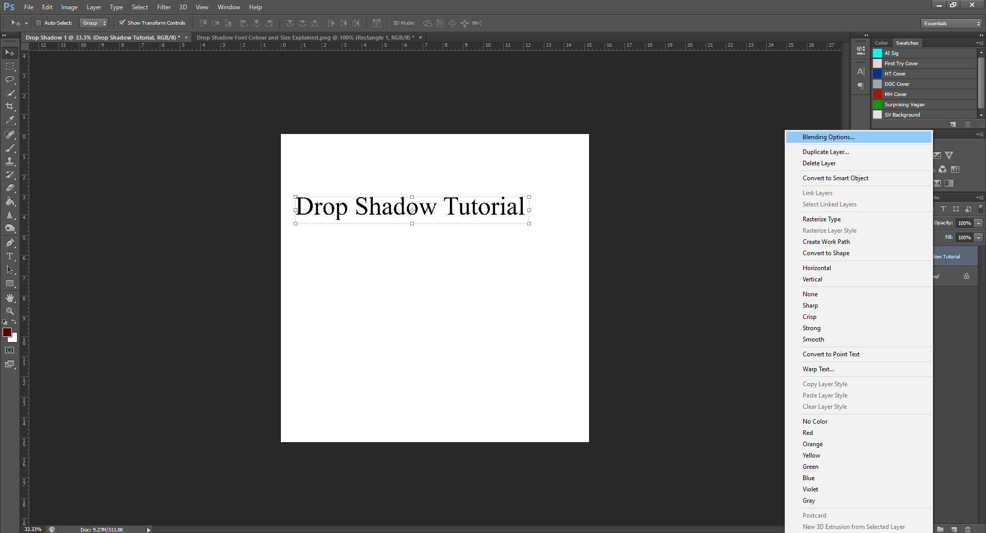 AterImber.com - Writing - Writing Tips - PHSH Tutorial - Drop Shadow - Blending Options Right-Clicked