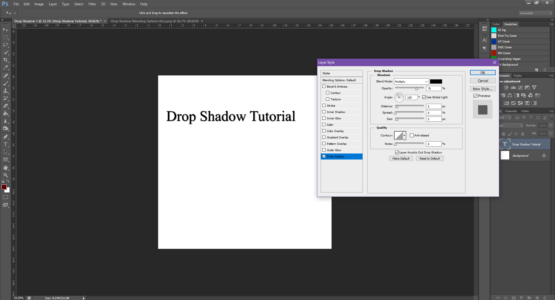 AterImber.com - Writing - Writing Tips - PHSH Tutorial - Drop Shadow - Drop Shadow Default