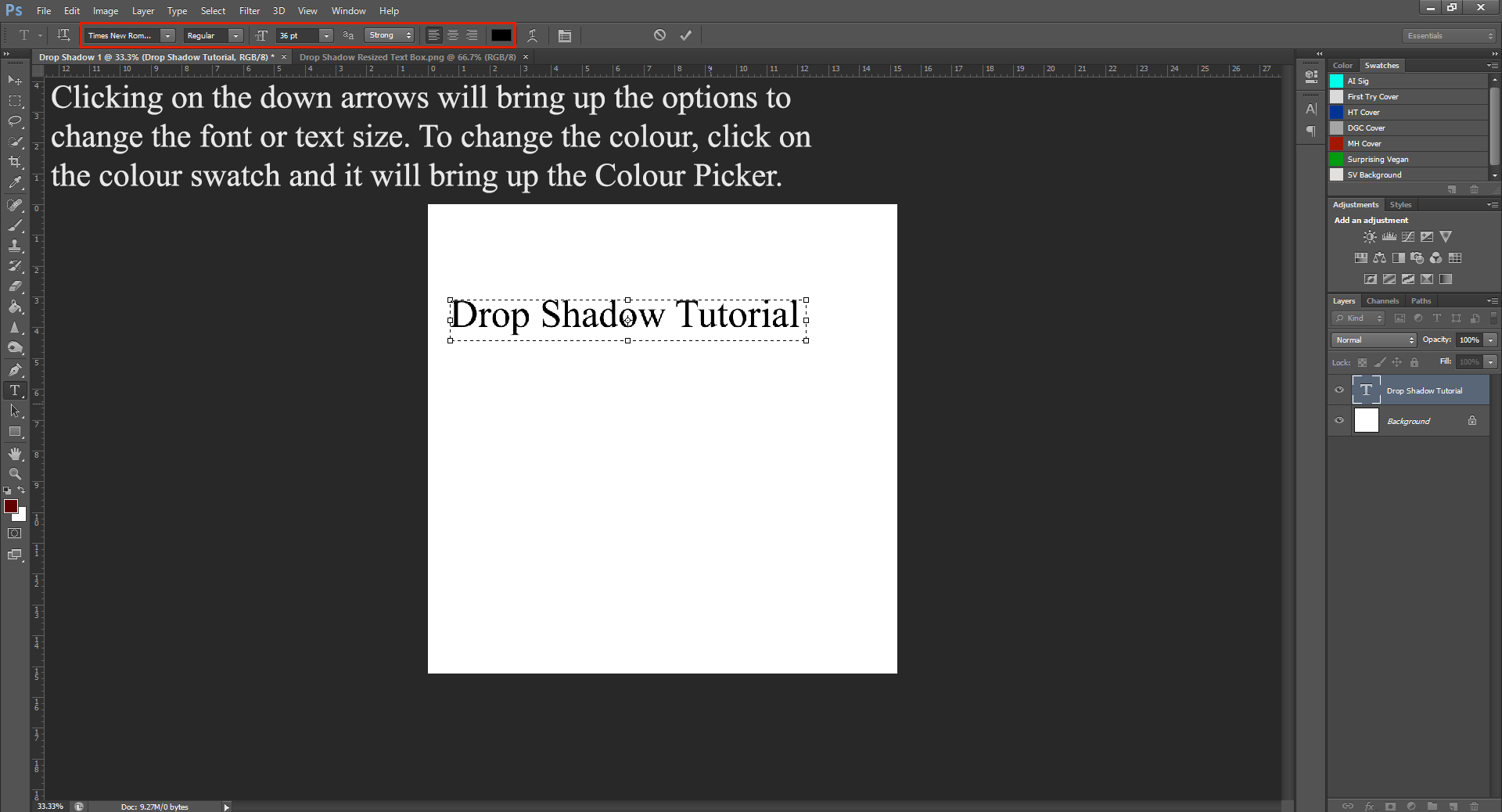 AterImber.com - Writing - Writing Tips - PHSH Tutorial - Drop Shadow - Font, Size and Colour Options