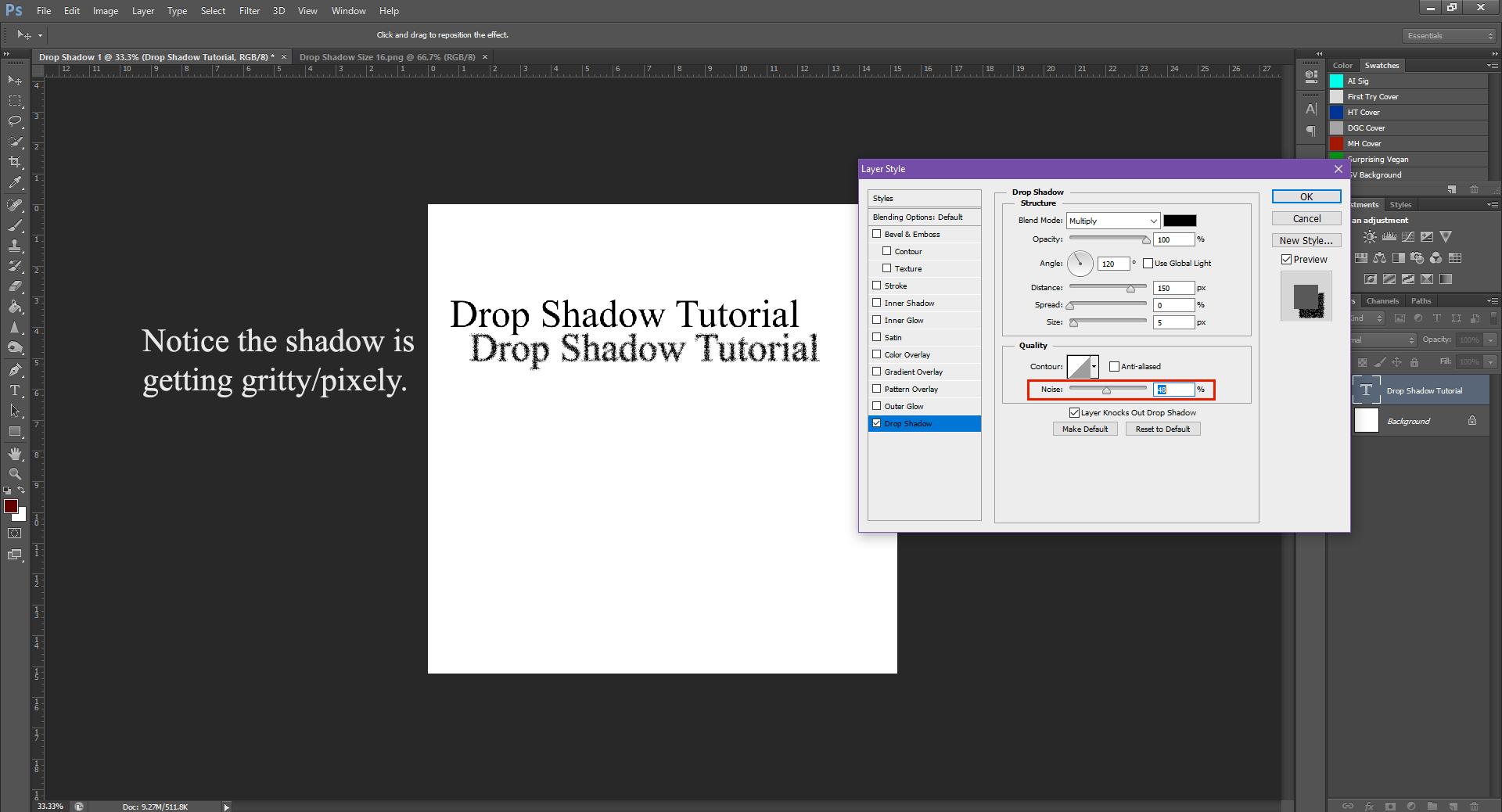 AterImber.com - Writing - Writing Tips - PHSH Tutorial - Drop Shadow - Noise