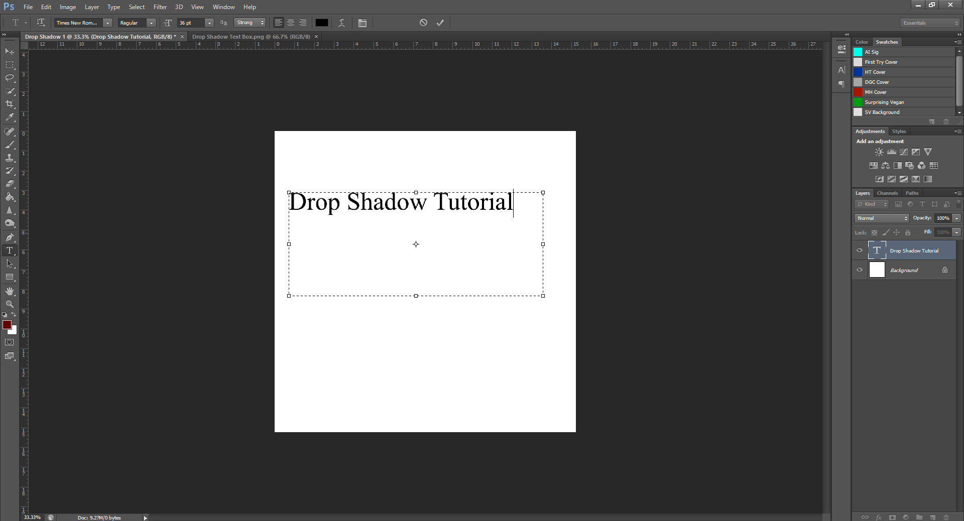 AterImber.com - Writing - Writing Tips - PHSH Tutorial - Drop Shadow - Text Box w Words