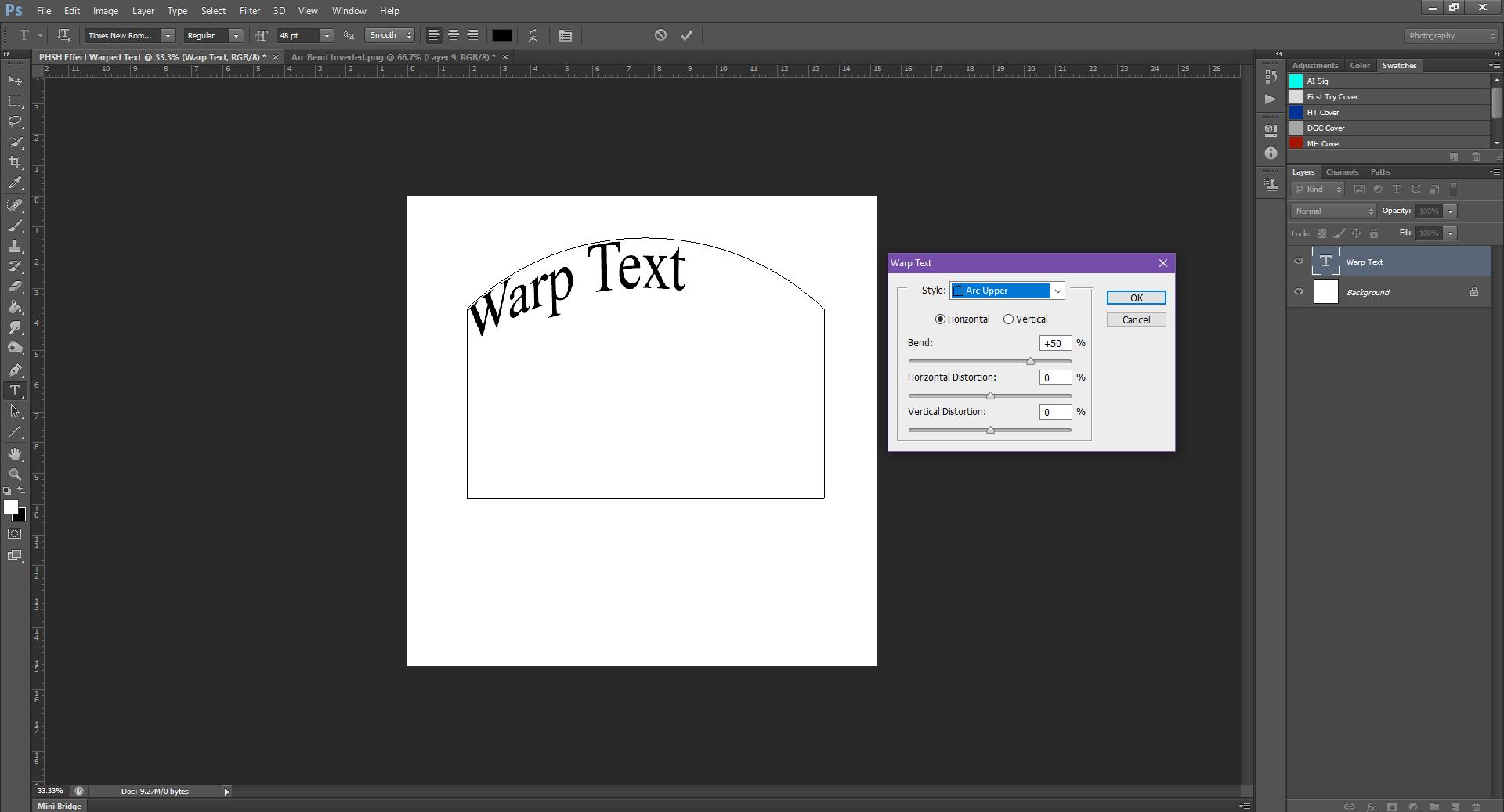 AterImber.com - Writing - Writing Tips - PHSH Tutorial - Warped Text - Arc Upper Bend