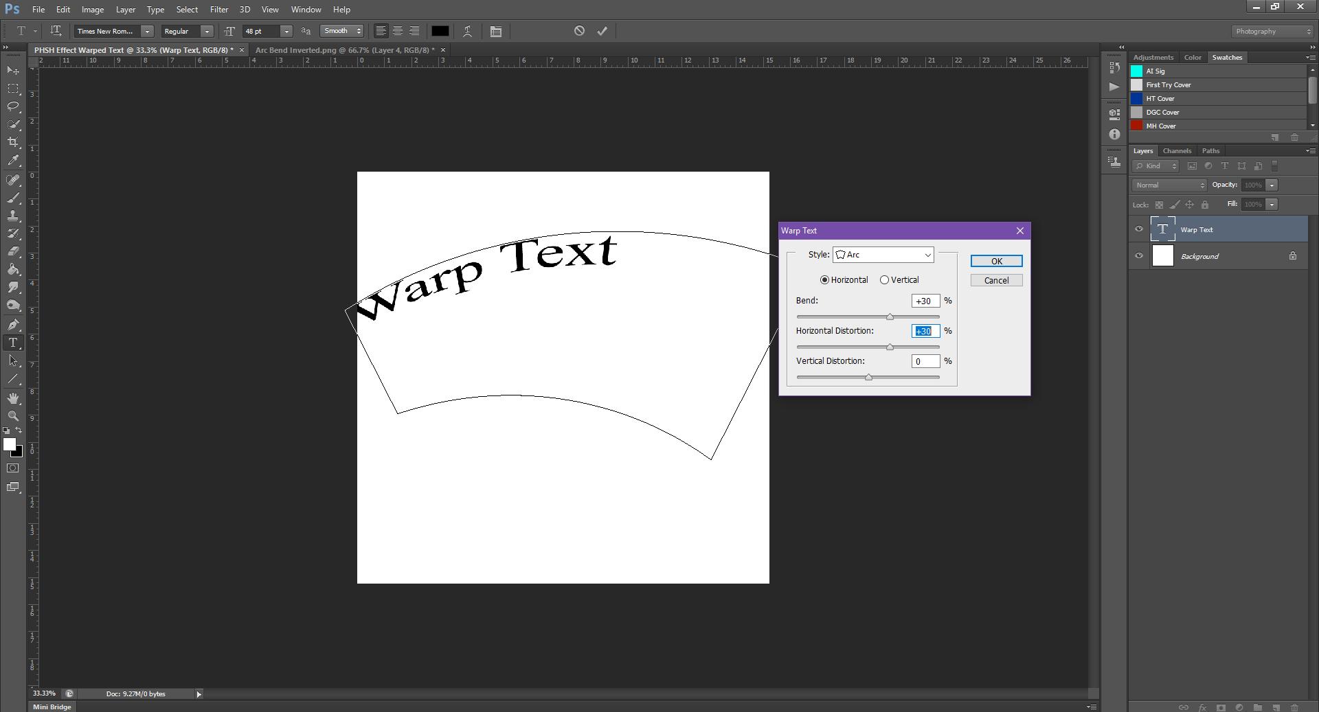 AterImber.com - Writing - Writing Tips - PHSH Tutorial - Warped Text - Bend Horizontal Distortion