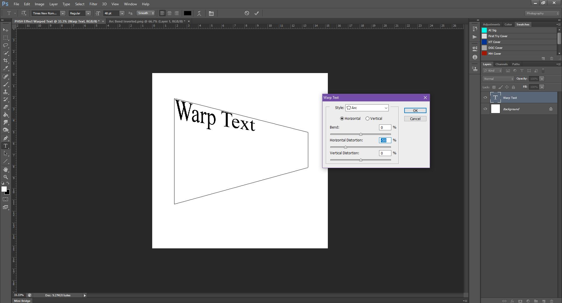 AterImber.com - Writing - Writing Tips - PHSH Tutorial - Warped Text - Horizontal Distortion Inverted