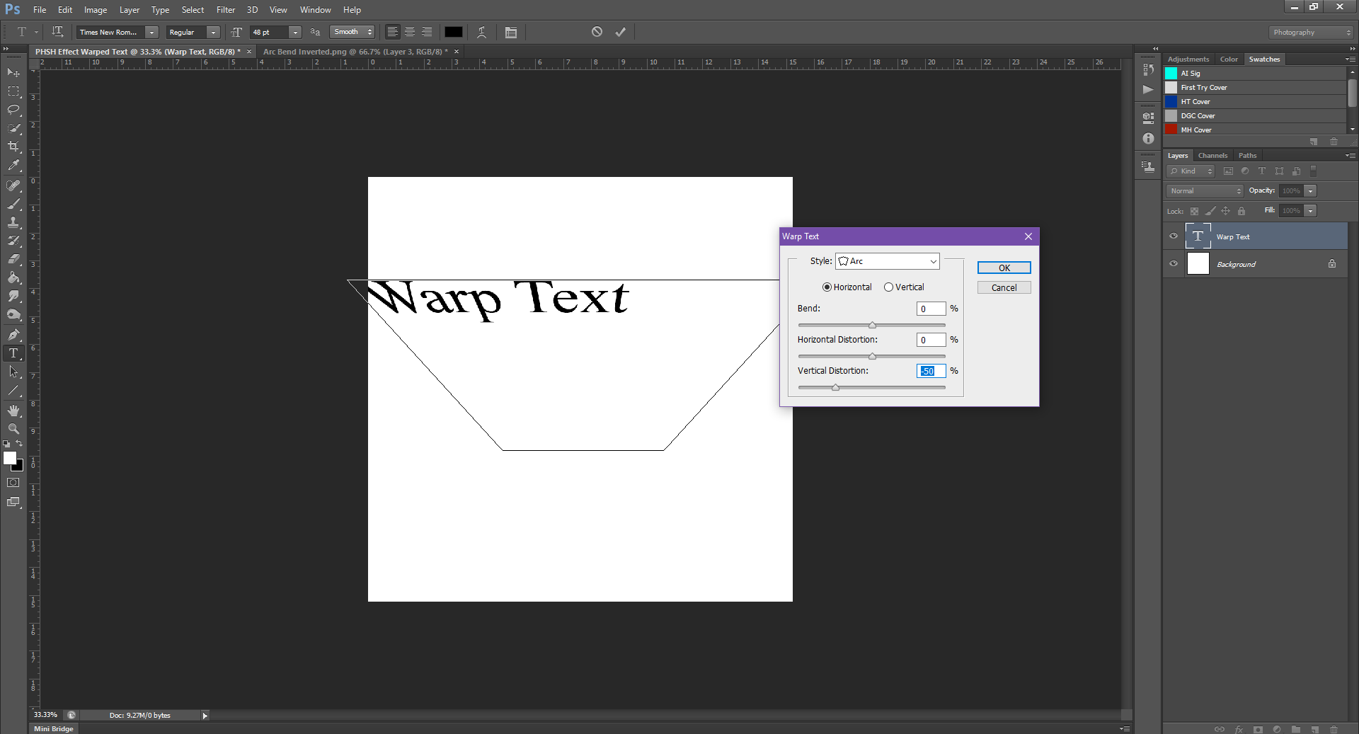 AterImber.com - Writing - Writing Tips - PHSH Tutorial - Warped Text - Vertical Distortion Inverted