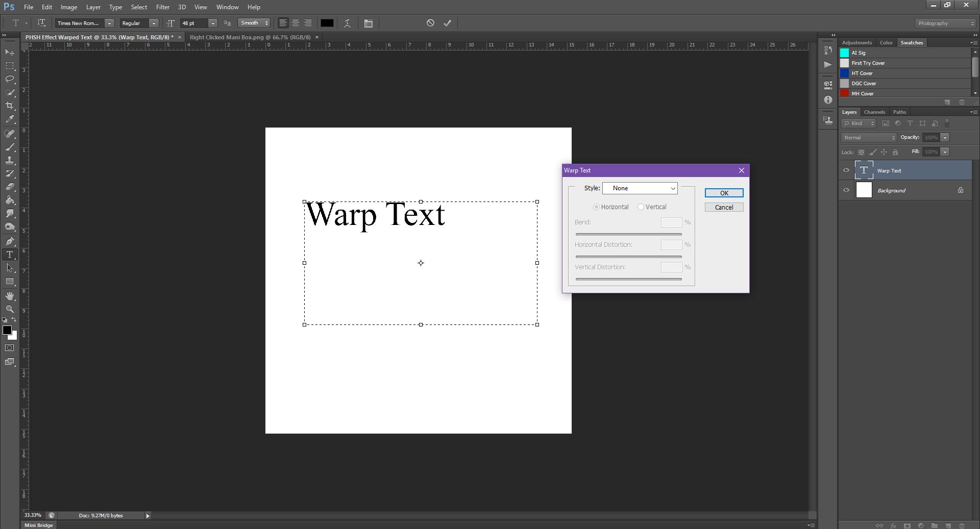 AterImber.com - Writing - Writing Tips - PHSH Tutorial - Warped Text - Warp Text Box