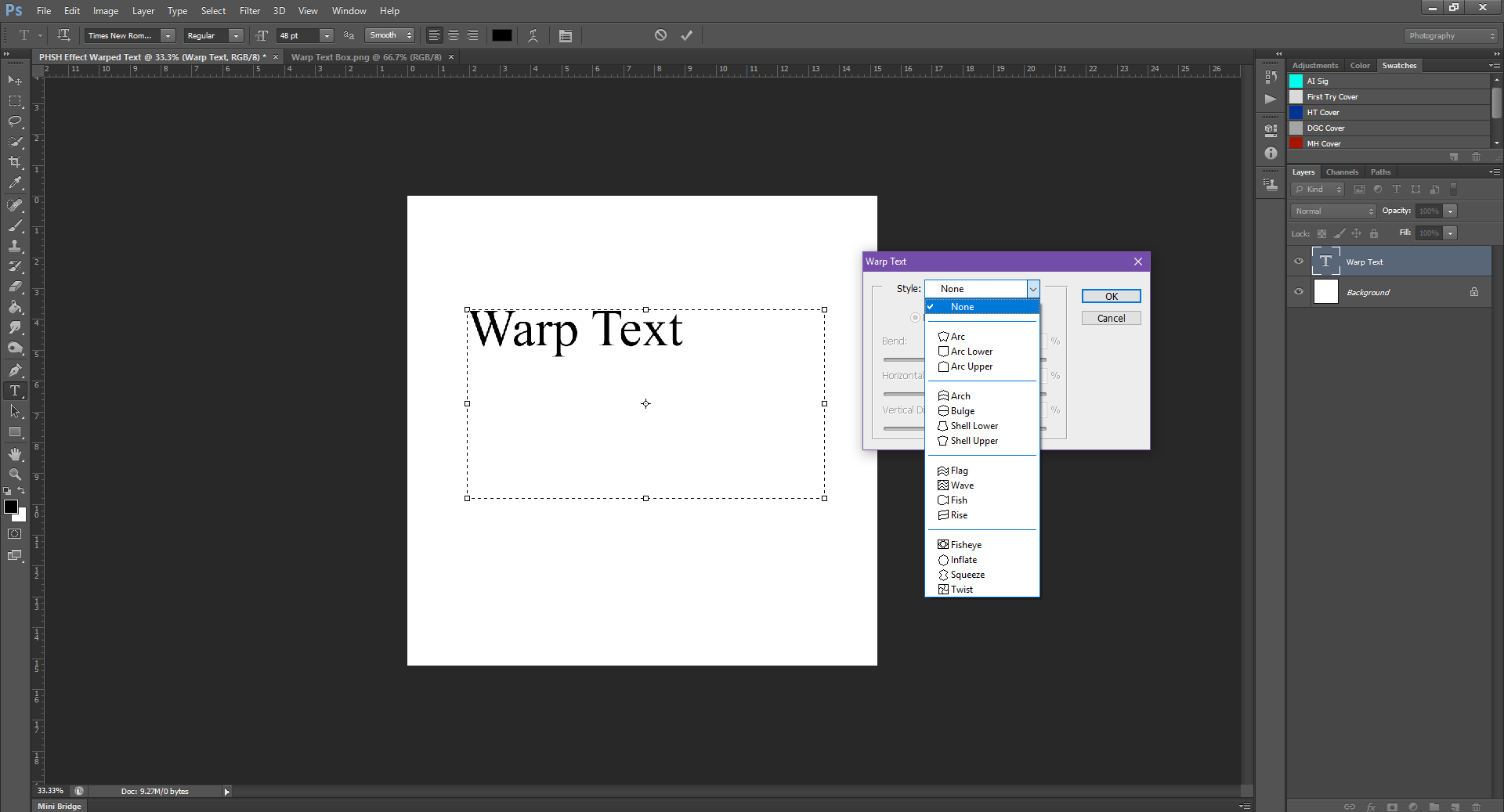 AterImber.com - Writing - Writing Tips - PHSH Tutorial - Warped Text - Warp Text Options