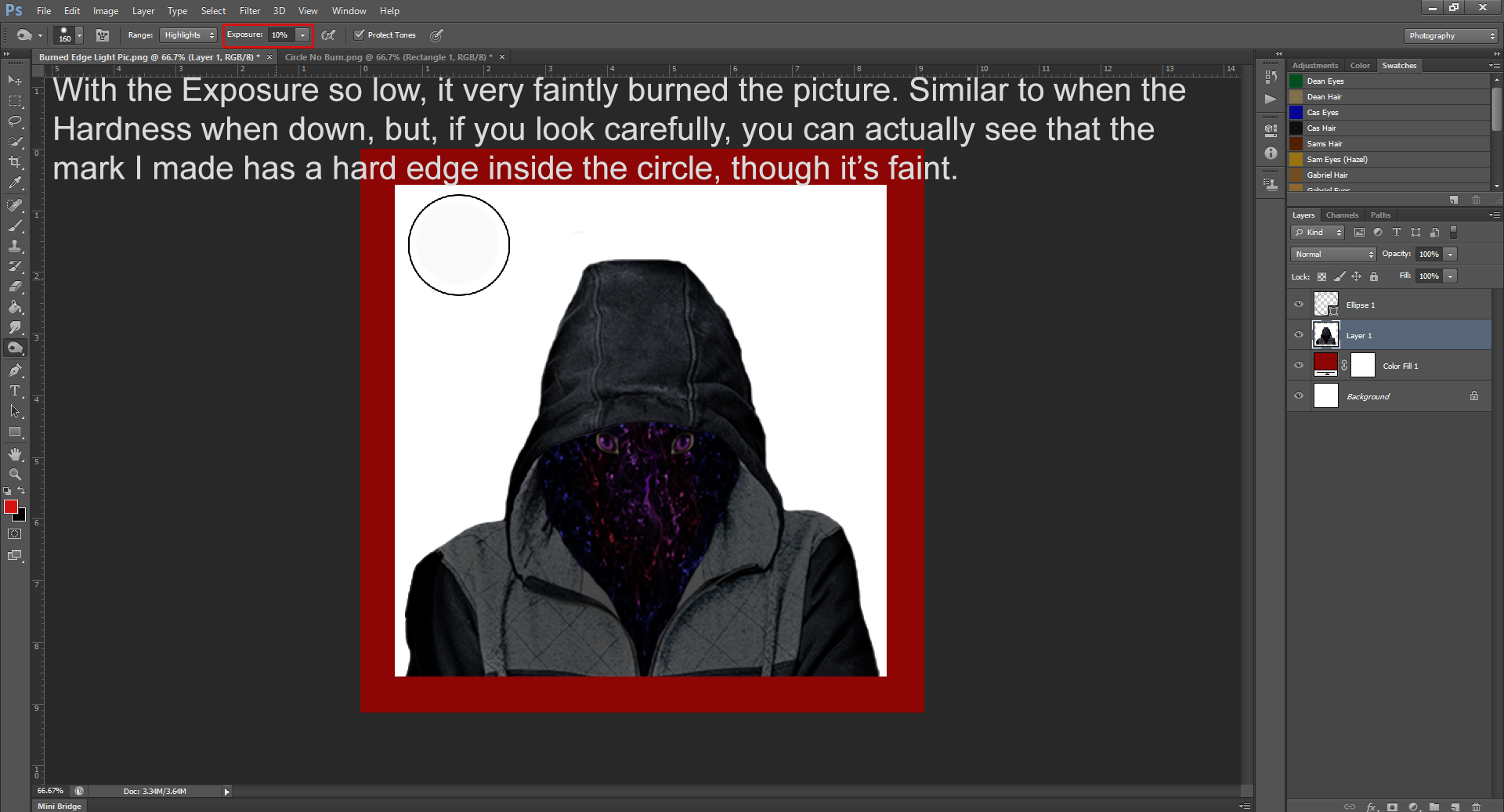 AterImber.com - Writing - Writing Tips - PHSH Effect Series - Burning a Picture - 10% Exposure Burn