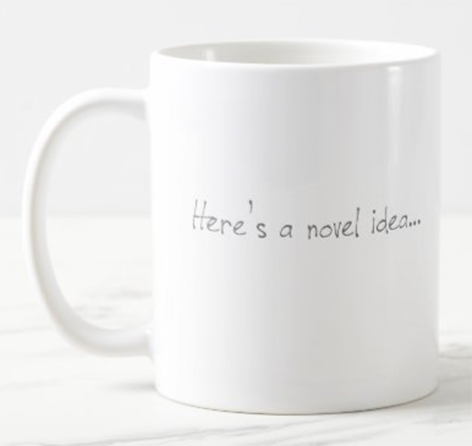 AterImber.com - Writing Tips - Zazzle - Novel Idea Merch - writing merch, writing community, writer jokes, indie author, mugs, coffee, canadian author
