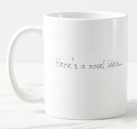 AterImber.com - Writing Tips - Zazzle - Novel Idea Merch - writing merch, writing community, writer jokes, indie author, mugs, coffee, canadian author