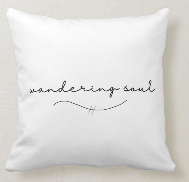 AterImber.com - No. Mad. - Wandering Soul Throw Pillow - tiny house, tiny living, bus life, van life, traveller, travelling, nomadic living