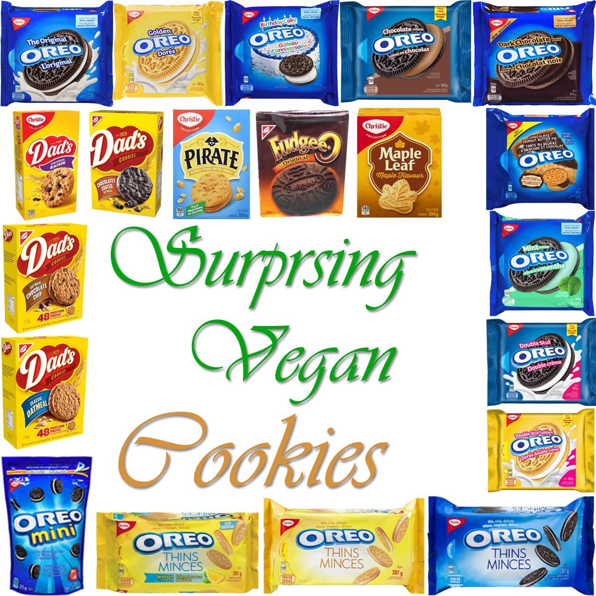 AterImber.com - The Veg Life - Vegan Tips - Surprising Vegan Series - Surprising Vegan Cookies - vegan food, vegan snacks, cookies, Oreos, Dad's cookies, Pirate cookies, Fudgee-Os, Maple Cookies, Mr. Christie Cookies, food blogger