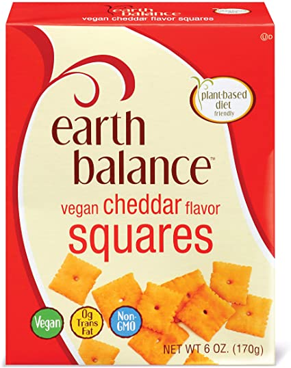 AterImber.com - The Veg Life - Product Reviews - Earth Balance Vegan Cheddar Flavoured Squares - Earth Balance Vegan Cheddar Flavoured Squares Product Box - Earth Balance, vegan crackers, vegan cheese, cheesy crackers, vegan food, vegan food blogger, food blogger, food reviewer
