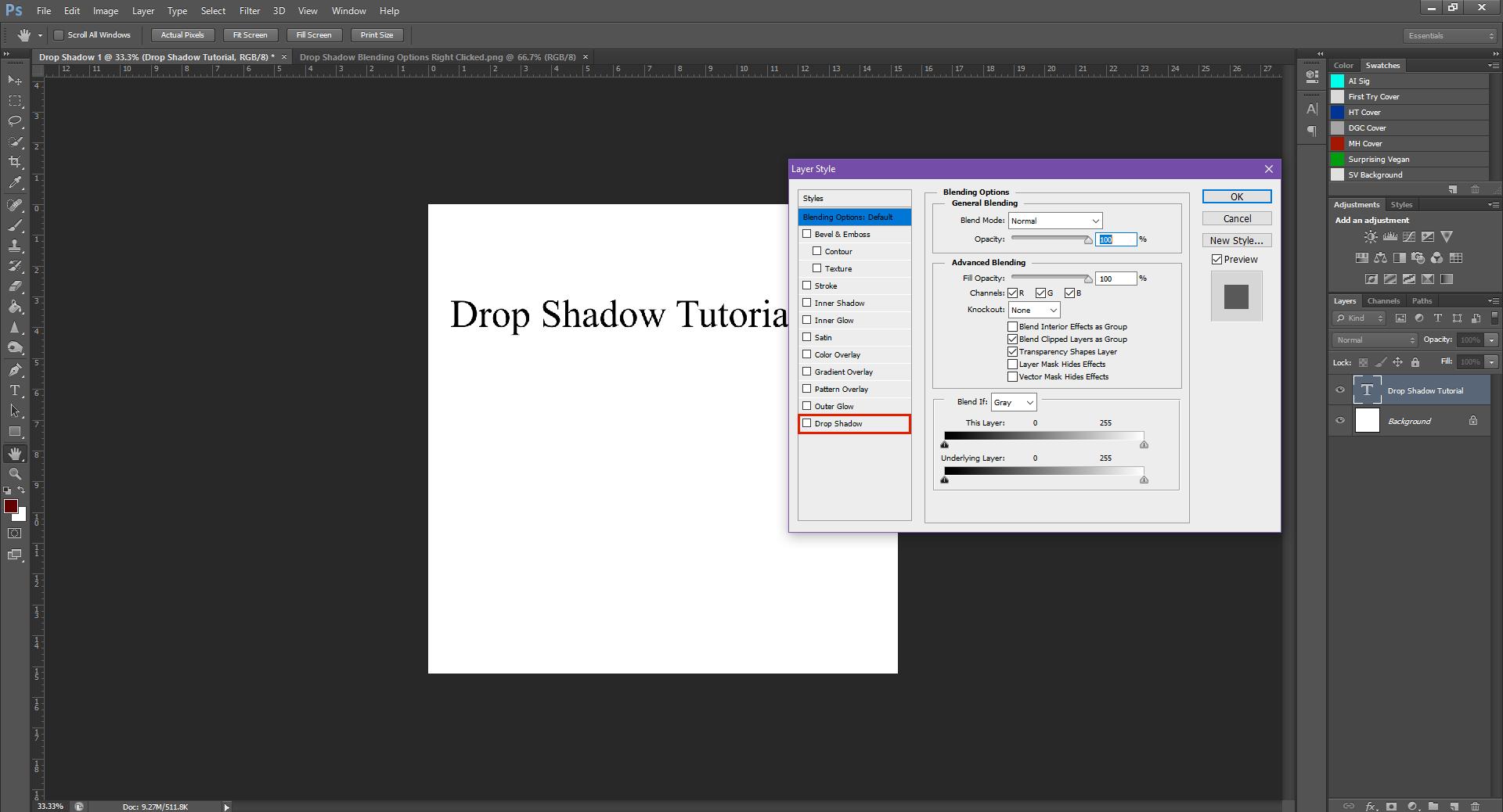 AterImber.com - Writing - Writing Tips - PHSH Tutorial - Drop Shadow - Blending Options Dialogue Box