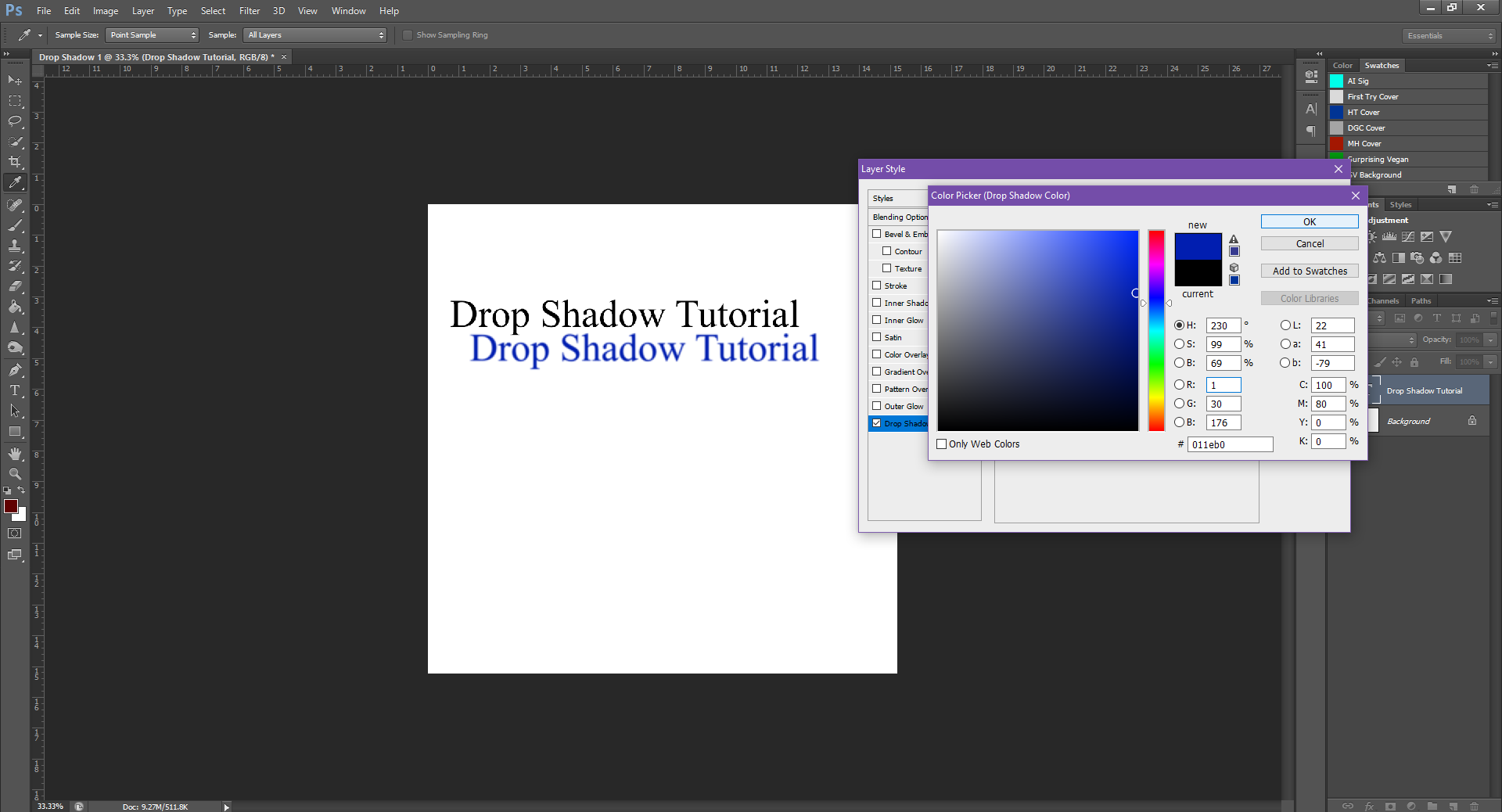 AterImber.com - Writing - Writing Tips - PHSH Tutorial - Drop Shadow - Colour Change