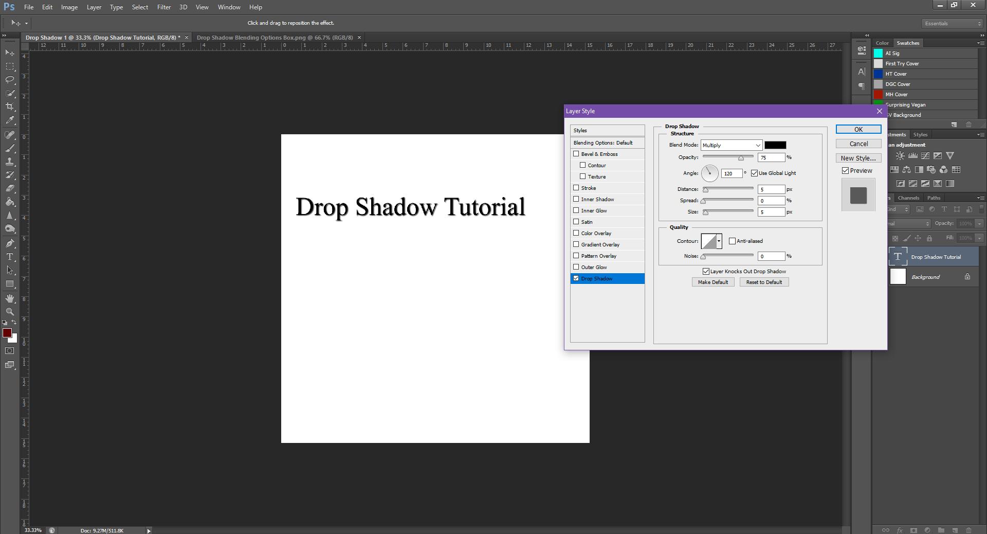AterImber.com - Writing - Writing Tips - PHSH Tutorial - Drop Shadow - Drop Shadow Default