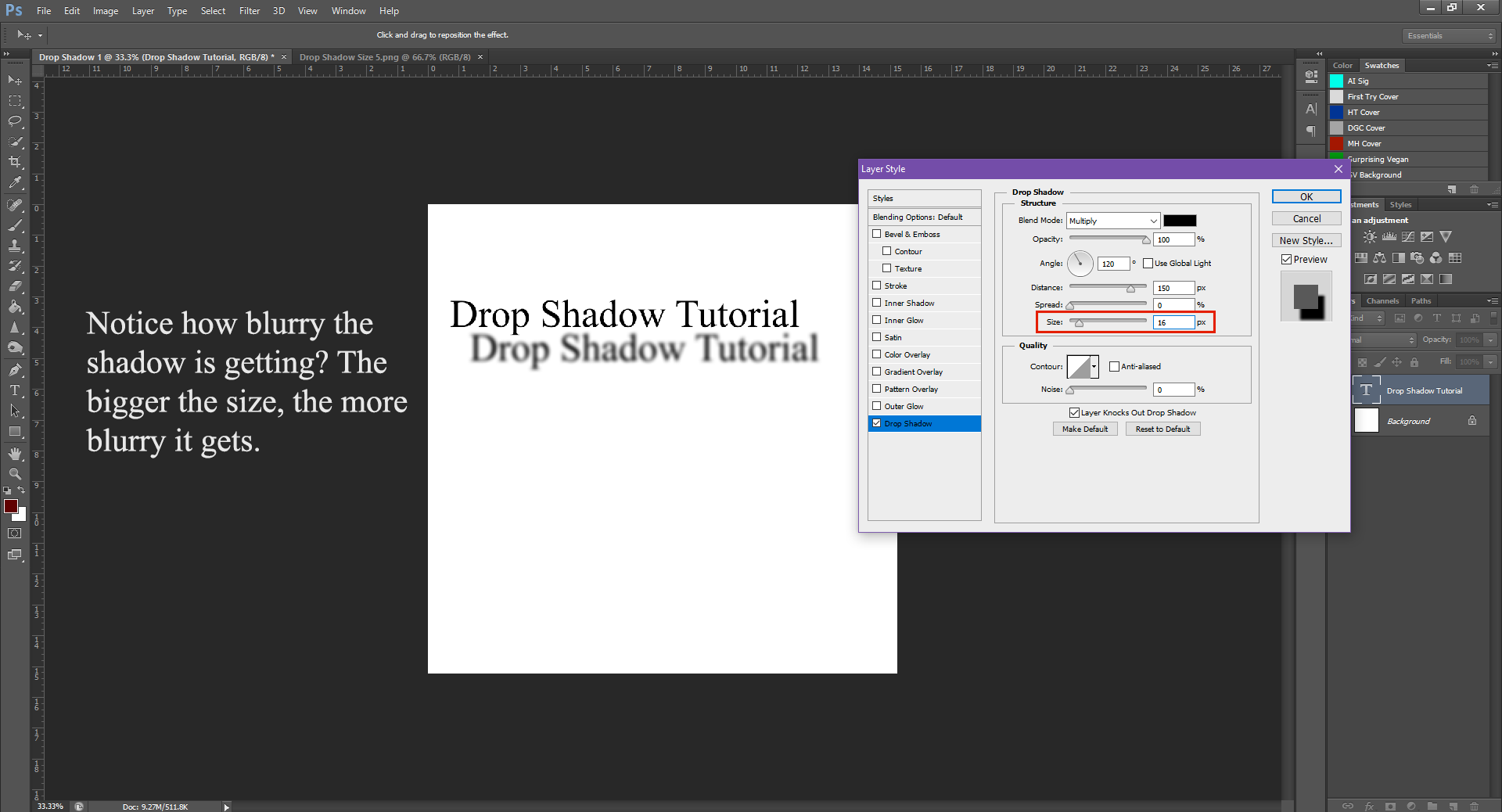 AterImber.com - Writing - Writing Tips - PHSH Tutorial - Drop Shadow - Size 16