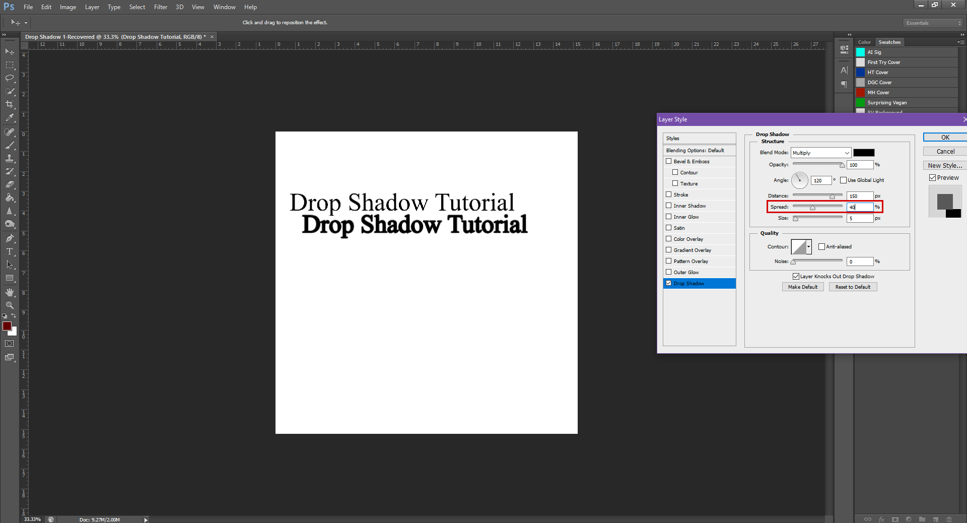 AterImber.com - Writing - Writing Tips - PHSH Tutorial - Drop Shadow - Spread