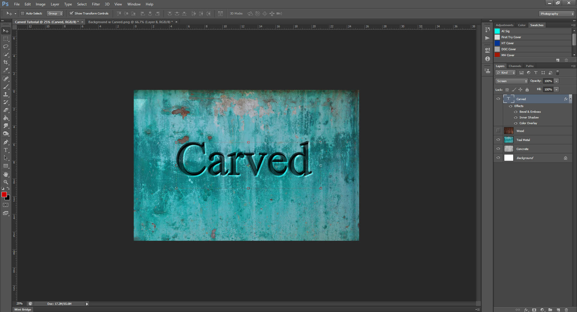 AterImber.com - Writing - Writing Tips - PHSH Effect Series - Carved Effect - Way 1 Carved Effect Done Teal - phsh effect, writing tips, book cover tips, indie author tips, self pub tips