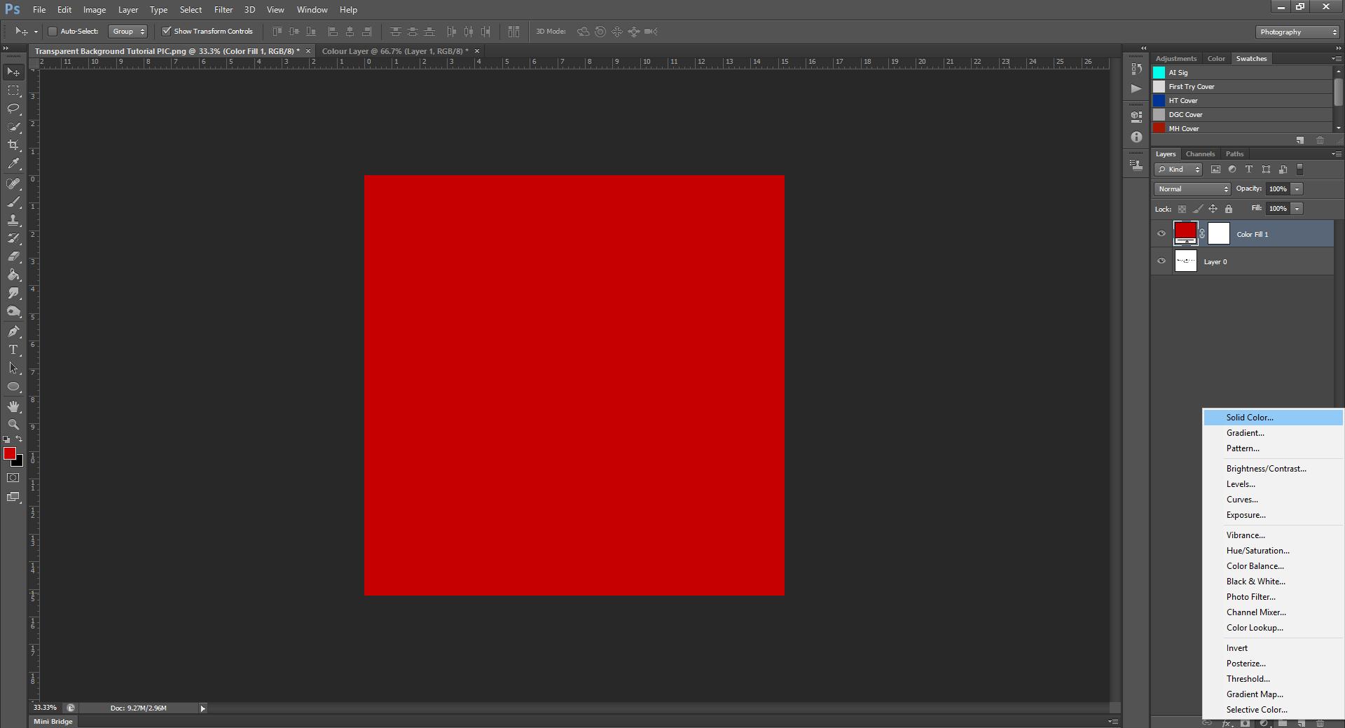 AterImber.com - Writing Tips - PHSH Tutorial - Making a Transparent Background - Colour Layer