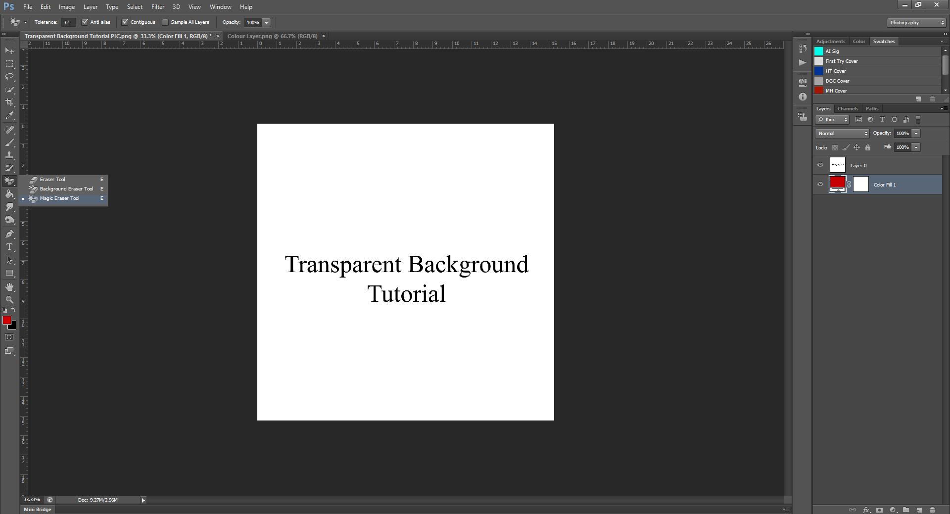 AterImber.com - Writing Tips - PHSH Tutorial - Making a Transparent Background - Magic Eraser Selection