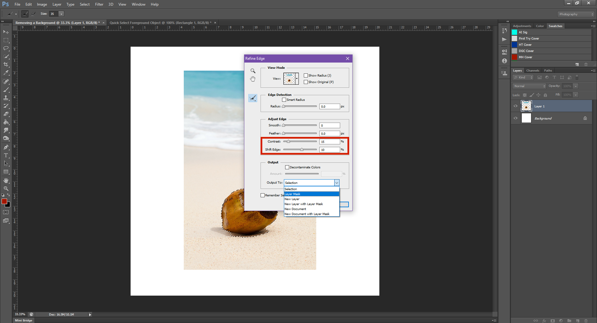 AterImber.com - Writing - Writing Tips - PHSH Effect Series - Removing a Background Object - Refine Edge Dialogue Box