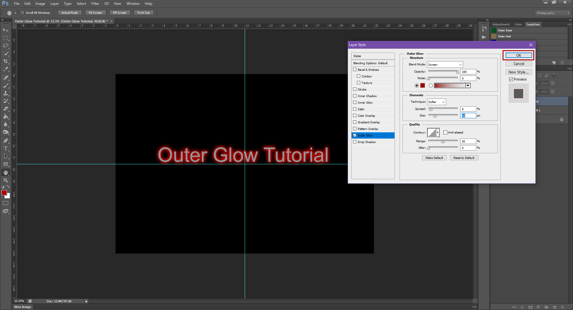 AterImber.com - Writing - Writer Tips - Photoshop Tutorials - Outer Glow - Step 5 - PHSH Tutorials, Outer Glow, photoshop, tutorials, indie authors, book covers