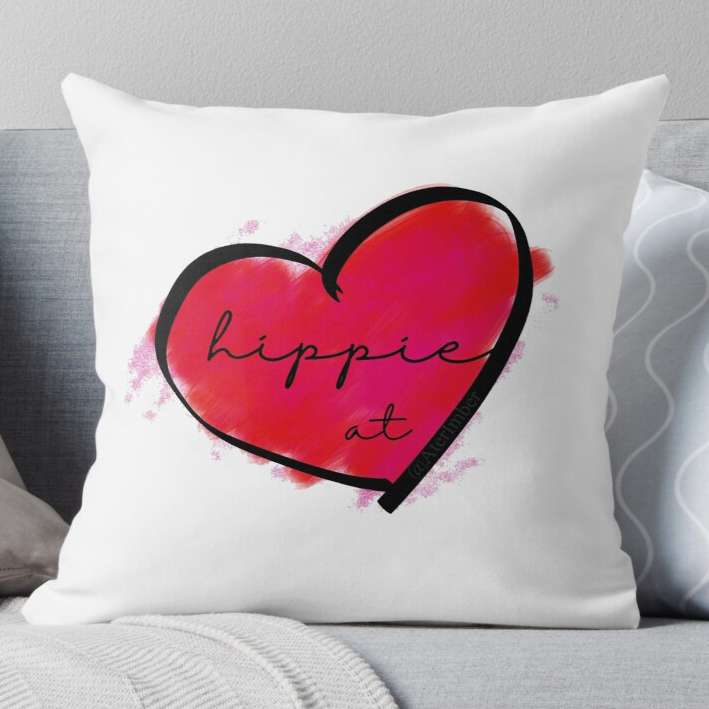Hippie At Heart Throw Pillow - RedBubble Merch, merch, throw pillows, traveller, nomadic living, buslife, vanlife, hippies, home decor